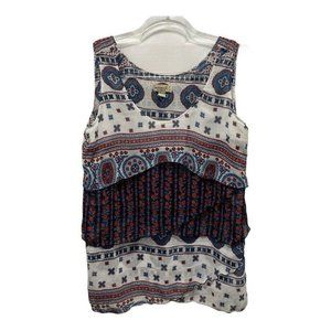 One World Layered Paisley Red Blue Tank Top Med